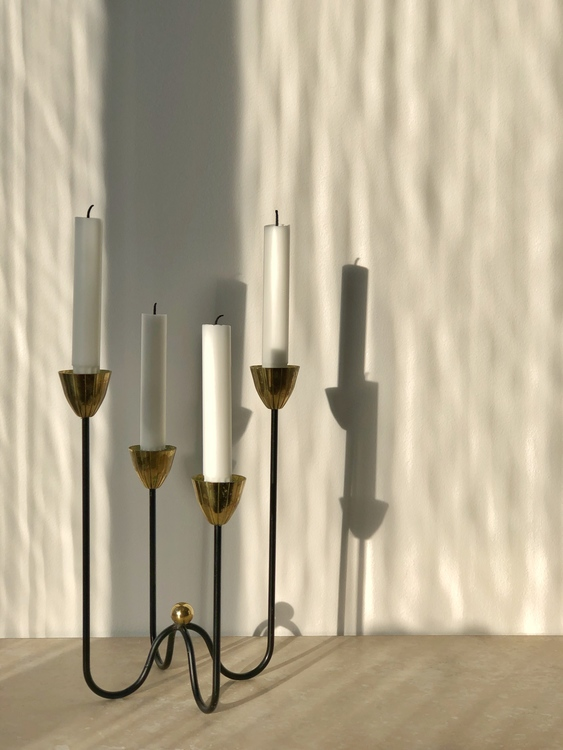 Ystad Metall 4-armed Candelabra Brass by Gunnar Ander