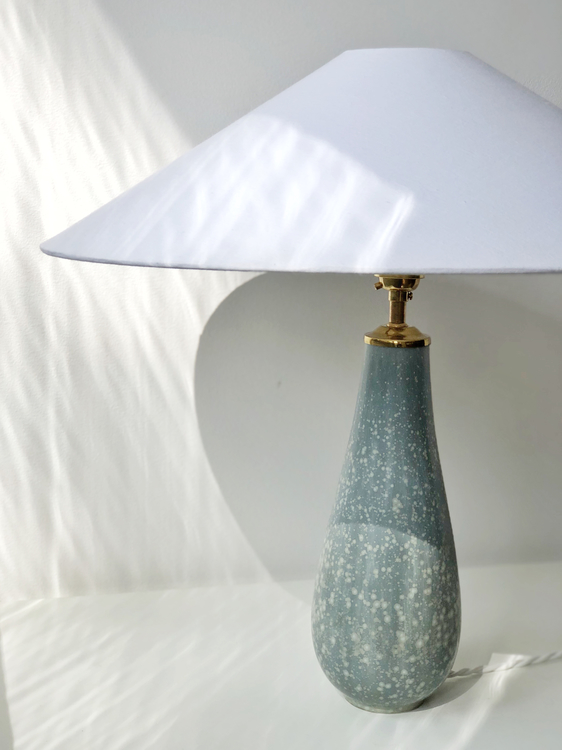 Gunnar Nylund Speckled Blue Stoneware Table Lamp. 1940s.