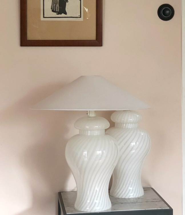 Murano Glass White Swirl Table Lamp (pair available)