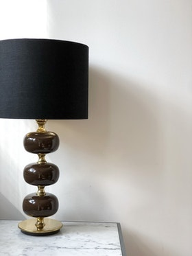 Stilarmatur Table Lamp in Brass and Brown Glass. 1960s.