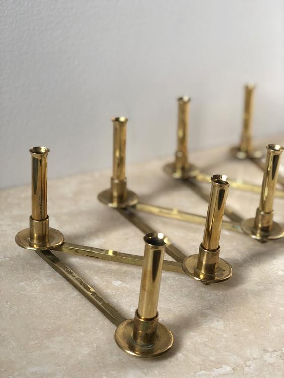 "Brass Candleholder ""Margareta-slingan"" by Lars Holmström for Arvika"