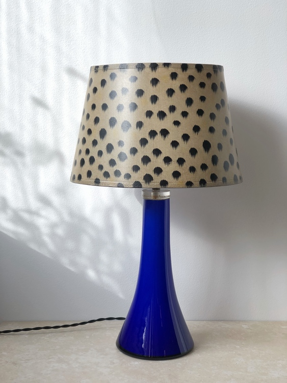 Midcentury Yves Klein Blue Glass Table Lamp. 1960s.