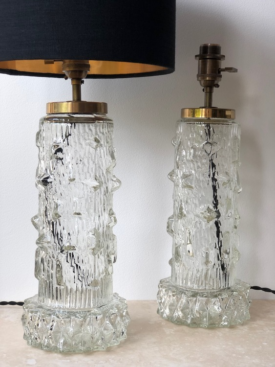 Stilarmatur pair of Table Lamps Clear Glass. 1960s.