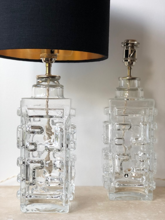 Pair of Pukeberg Clear Glass Table Lamps, Swedish Modern 60's