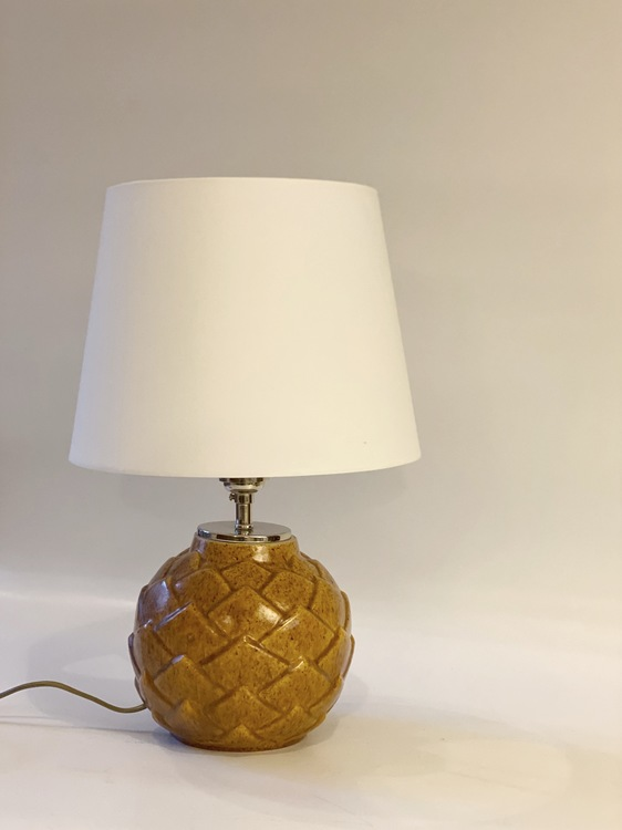 Upsala-Ekeby Art Deco Mustard Table Lamp by Anna-Lisa Thomson. 1950s.