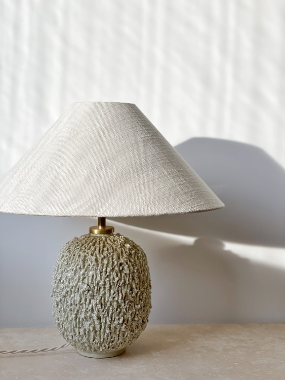 "Gunnar Nylund Large Cream Colored Table Lamp ""Chamotte"". 1940s."