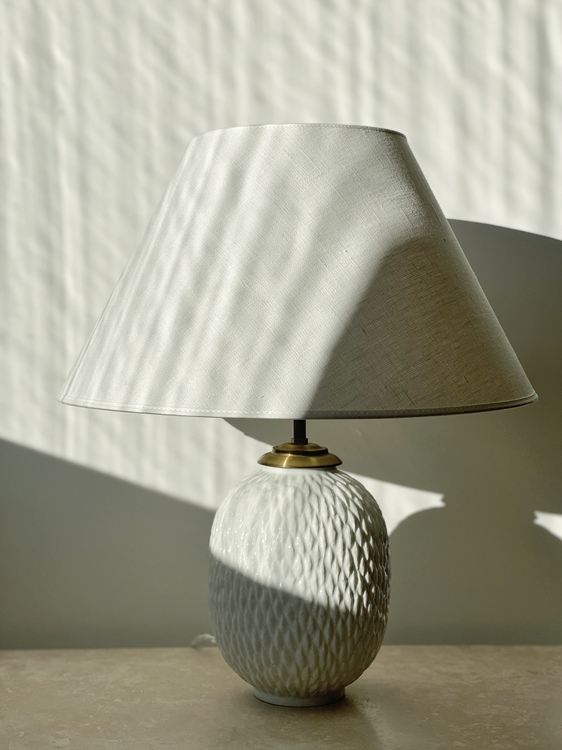 Gunnar Nylund Large Chamotte Stoneware Table Lamp. 1950s.