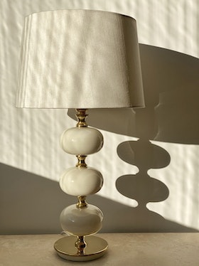 Stilarmatur Table Lamp in Brass and White Glass. 1960s.