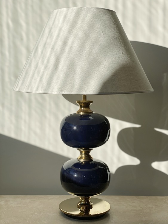 Stilarmatur Large Table Lamp Blue Glass. 1960s.
