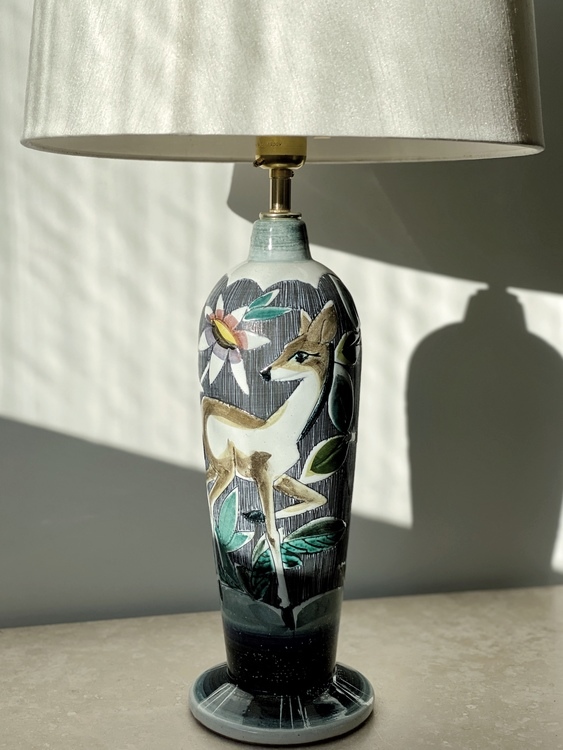 Colorful Large Ceramic Table Lamp by Tilgmans Keramik, 1960s.