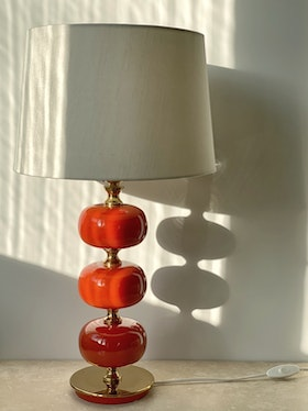 Stilarmatur Table Lamp in Brass and Red Glass. 1960s.