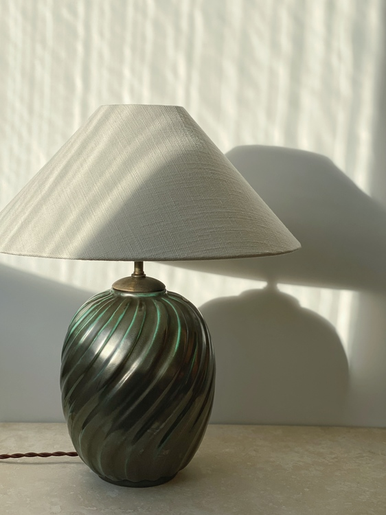 Upsala-Ekeby Art Deco Green Table Lamp by Anna-Lisa Thomson. 1930s.