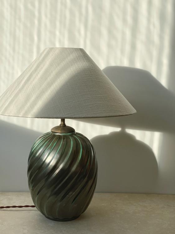 Upsala-Ekeby Art Deco Green Table Lamp by Anna-Lisa Thomson. 1930s.