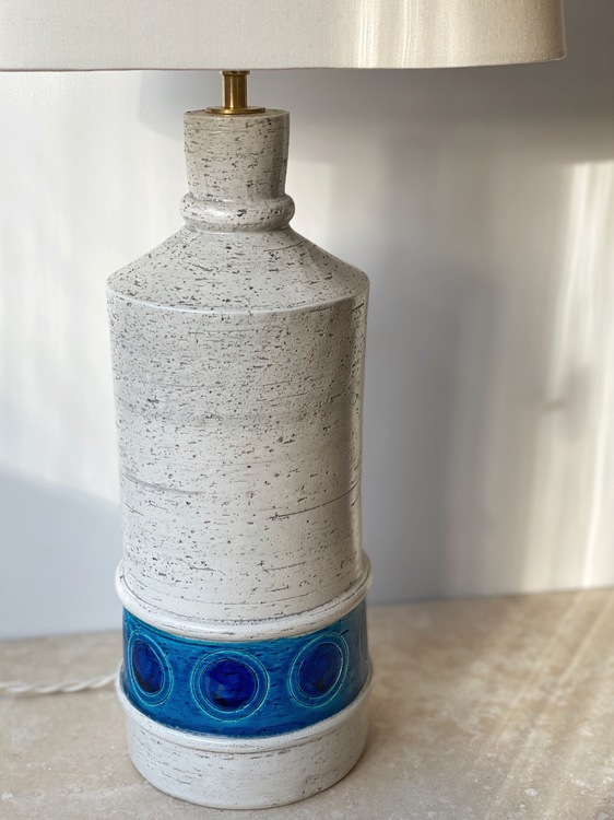 Bitossi for Bergboms White & Blue Large Ceramic Table Lamp.