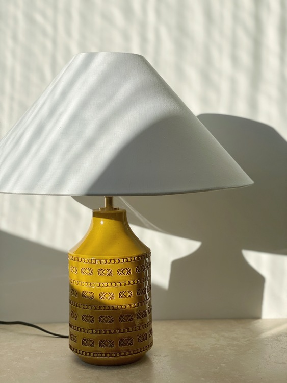 Swedish Modern Mustard Colored Ceramic Table Lamp. 1960s.