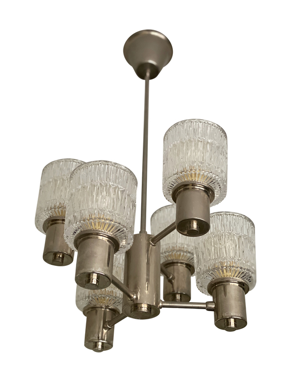 Tyringe 6-armed Crystal Chandelier with textured Glass Shades. 1960s.