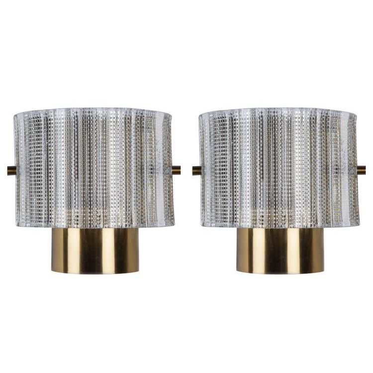 Pair of Orrefors Wall Sconce in Textured Glass. 1960s.