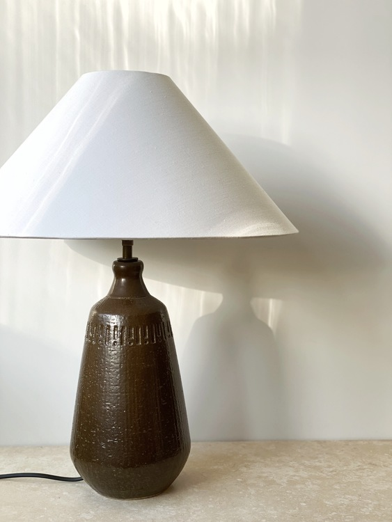 Yngve Blixt Brown Ceramic Table Lamp. 1965.