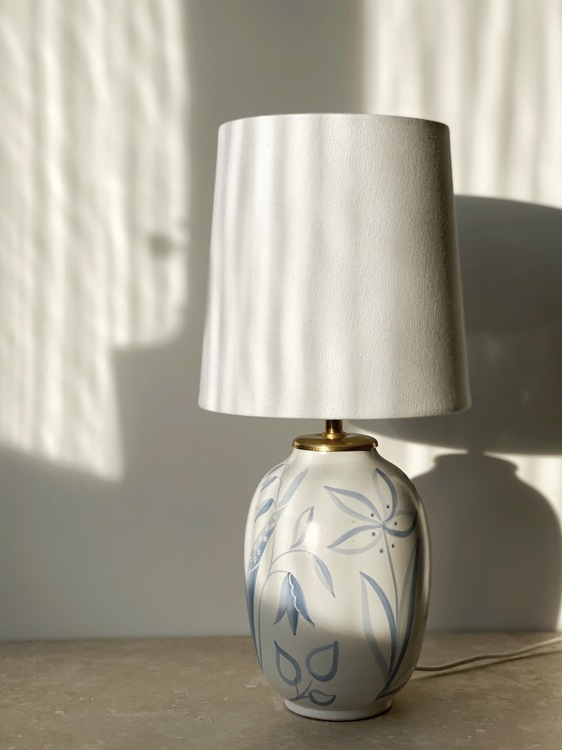 "Upsala-Ekeby Vintage Table Lamp ""Flora"" by Anna-Lisa Thomson. 1940s."
