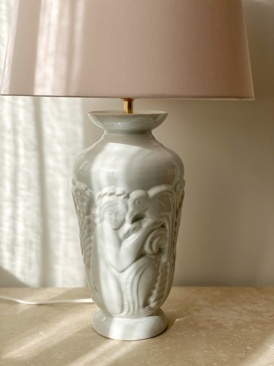 Gefle Art Deco Porcelain Large Table Lamp. 1930s.