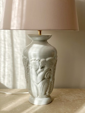 Art Deco Porcelain Large Table Lamp by Gefle. 1930s.