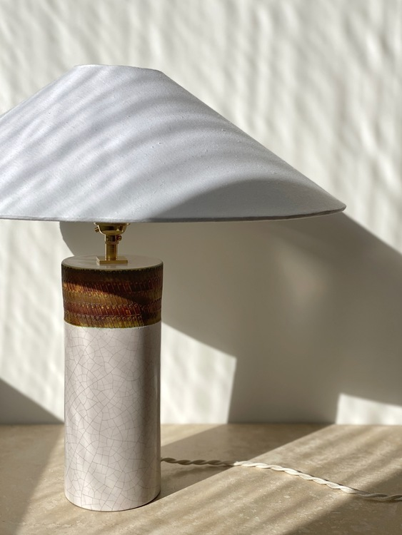 Bitossi White and Brown Ceramic Table Lamp. 1960s.