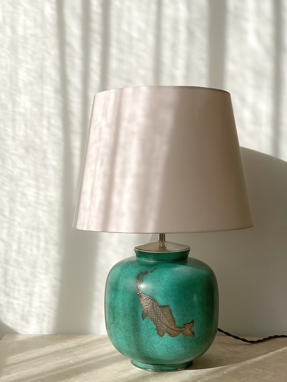 "Wilhelm Kåge Art Deco Table Lamp ""Argenta"" for Gustavsberg. 1940s."