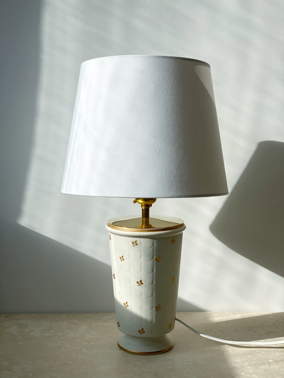 "Wilhelm Kåge ""Carrara"" Ceramic Table Lamp by Gustavsberg. 1940s."
