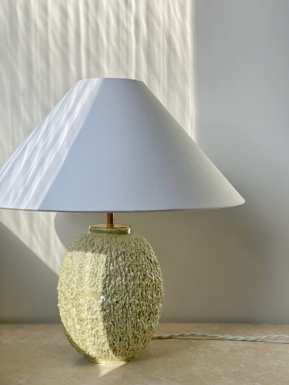 Rörstrand Large Yellow Chamotte Table Lamp by Gunnar Nylund. 1950s.