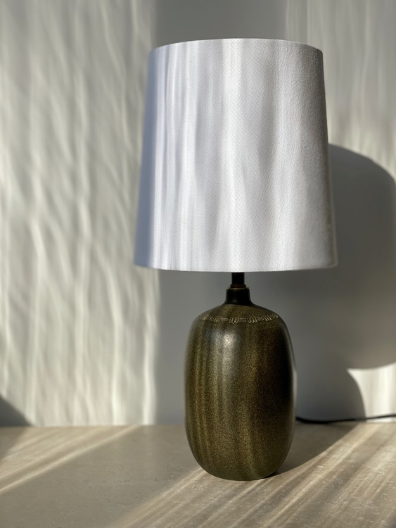 Agne Aronsson Vintage Brown-Green Ceramic Table Lamp. 1960s.