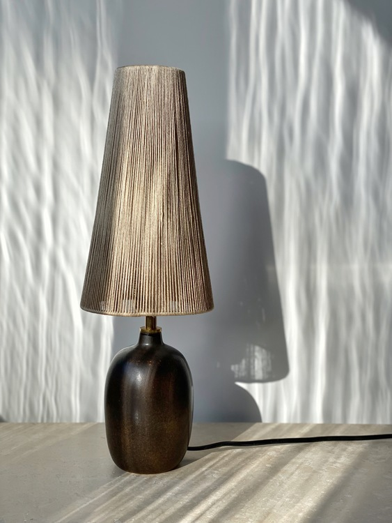 Agne Aronsson Vintage Brown Ceramic Table Lamp. 1960s.