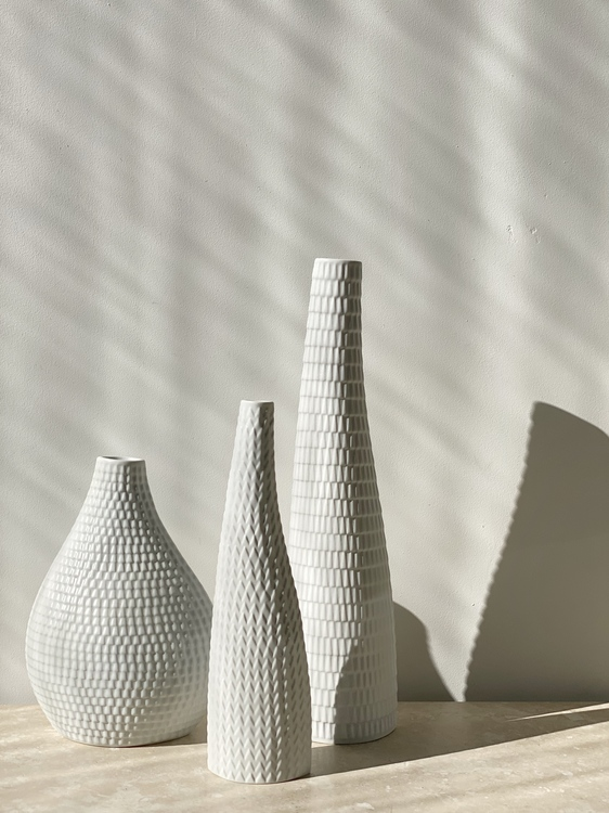 Stig Lindberg set of 3x 'Reptil' Ceramic Vessels by Gustavsberg, 1953.