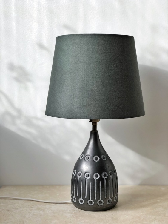 Vintage Ceramic Table Lamp in Anthracite Color. 1960s.
