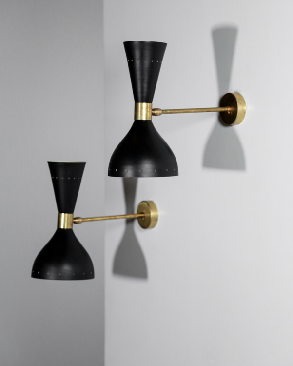 SOON BACK! Pair of Black Wall Lamps in the Style of Stilnovo