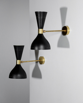 Pair of Black Wall Lamps in the Style of Stilnovo