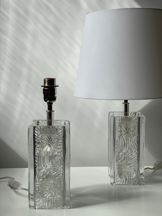 Pukeberg Pair of Clear Glass Squared Table Lamps