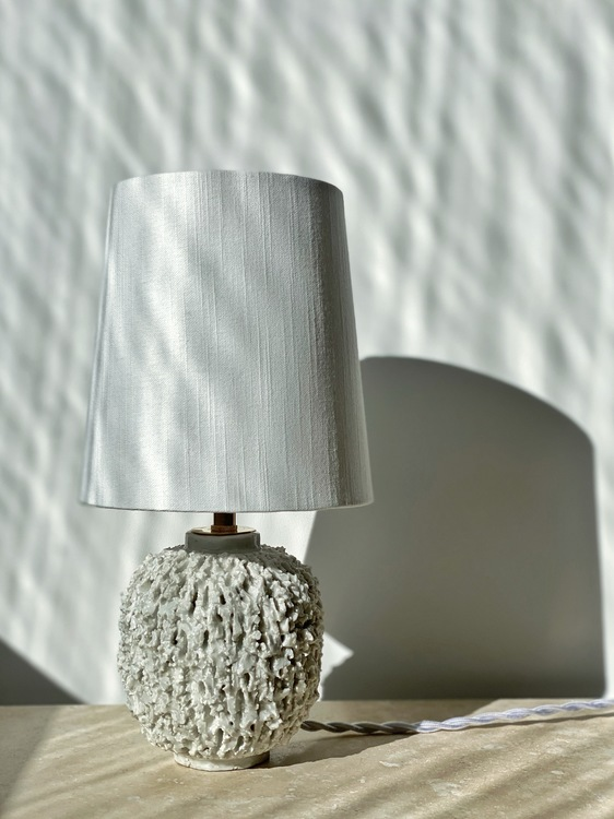 "Gunnar Nylund Cream Colored ""Chamotte"" Table Lamp. 1940s."