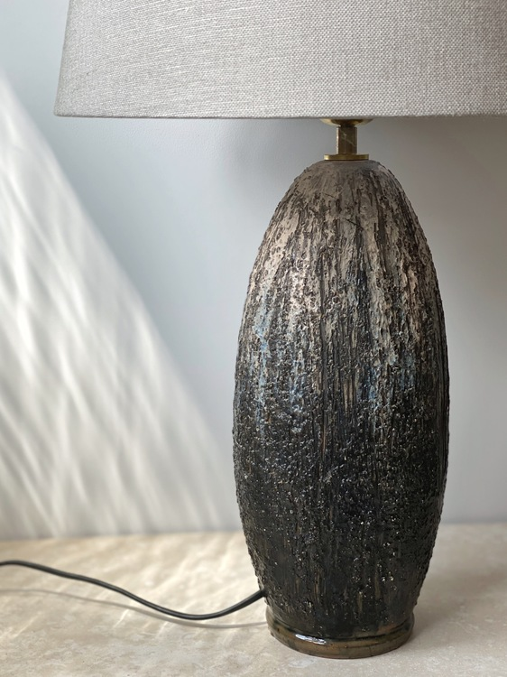 Large Vintage Chamotte Table Lamp by Tilgman Keramik. 1960s.