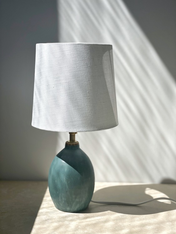 Vintage Turquoise Small Table Lamp. 1960s.