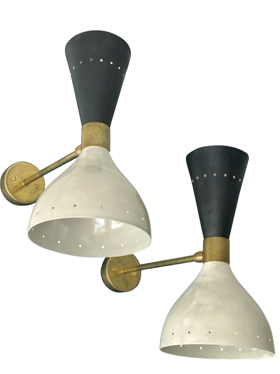Pair of Wall Lamps in the Style of Stilnovo. 1980s.