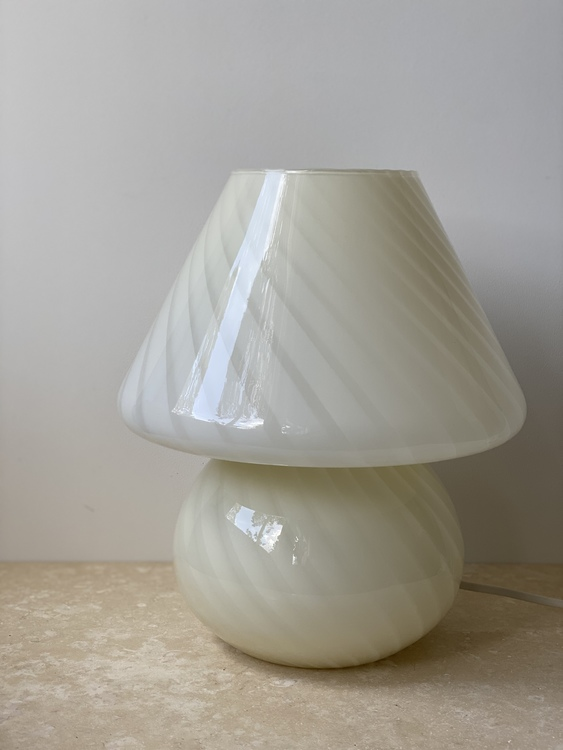 Large White Murano Glass Mushroom Table Lamp, 1970s
