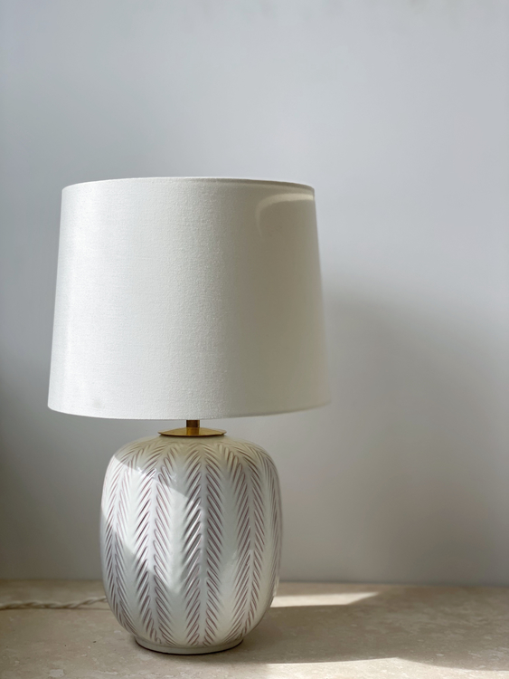Upsala-Ekeby Fishbone Pattern Ceramic Table Lamp by Anna-Lisa Thomson. 1940s.