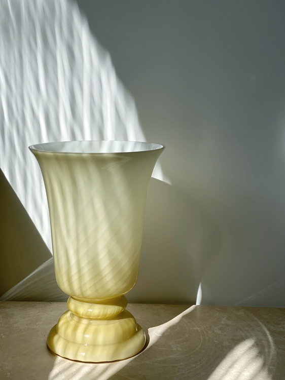 Yellow Murano Bell Formed Table Lamp. 1970s.