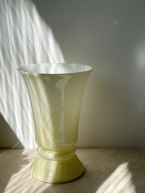 Pastel Yellow Murano Bell Formed Table Lamp. 1970s.