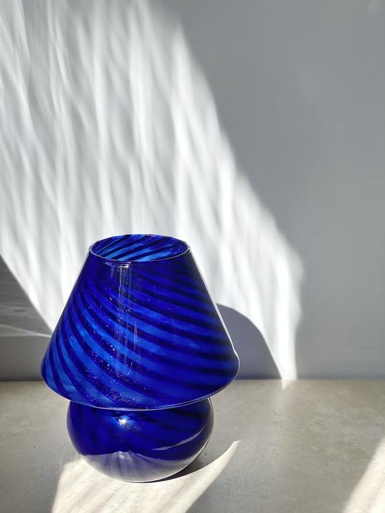 Blue Mushroom Lamp in the style of Murano. 1970s.