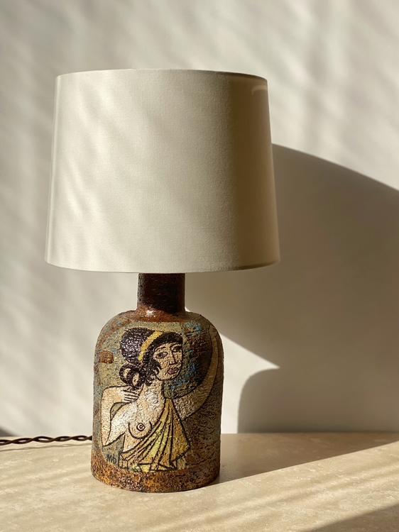 Upsala-Ekeby Ceramic Table Lamp by Mari Simmulson. 1960s.