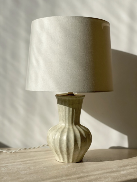 Upsala-Ekeby Art Deco Creme Colored Ceramic Table Lamp. 1940s.