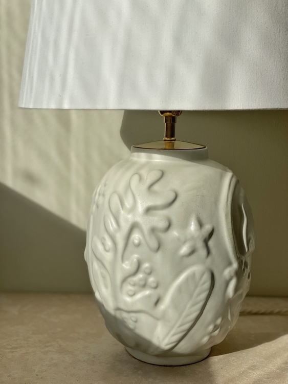 Anna-Lisa Thomson White Ceramic Table Lamp for Upsala-Ekeby. 1940s.