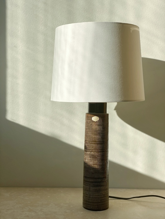 Upsala-Ekeby Brown Ceramic Table Lamp. 1960s.