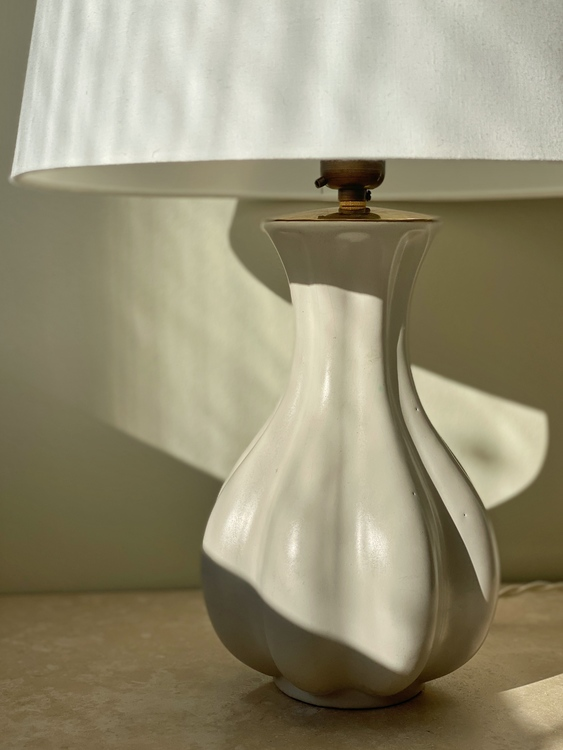 Upsala-Ekeby Creme Colored Ceramic Table Lamp. 1950s.